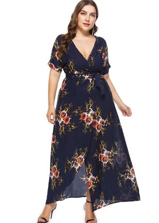 Plus Size Short Sleeves Floral Printed Maxi Dress V-shaped ...