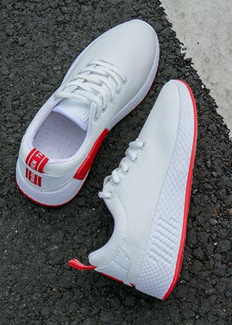 White color Sports Shoes . Breathable Harajuku Style Leisure Sport Shoes -