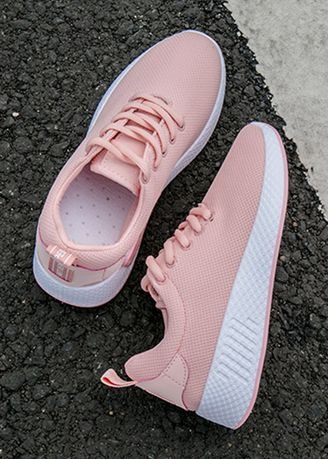 Pink color Sports Shoes . Breathable Harajuku Style Leisure Sport Shoes -