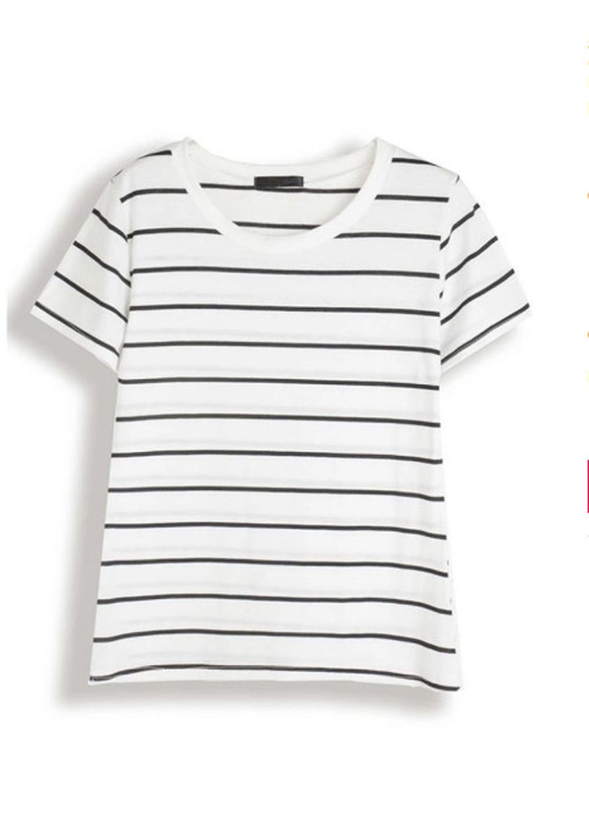 White color Tees & Shirts . Striped O Neck Short Sleeves Summer Beach Casual Top -