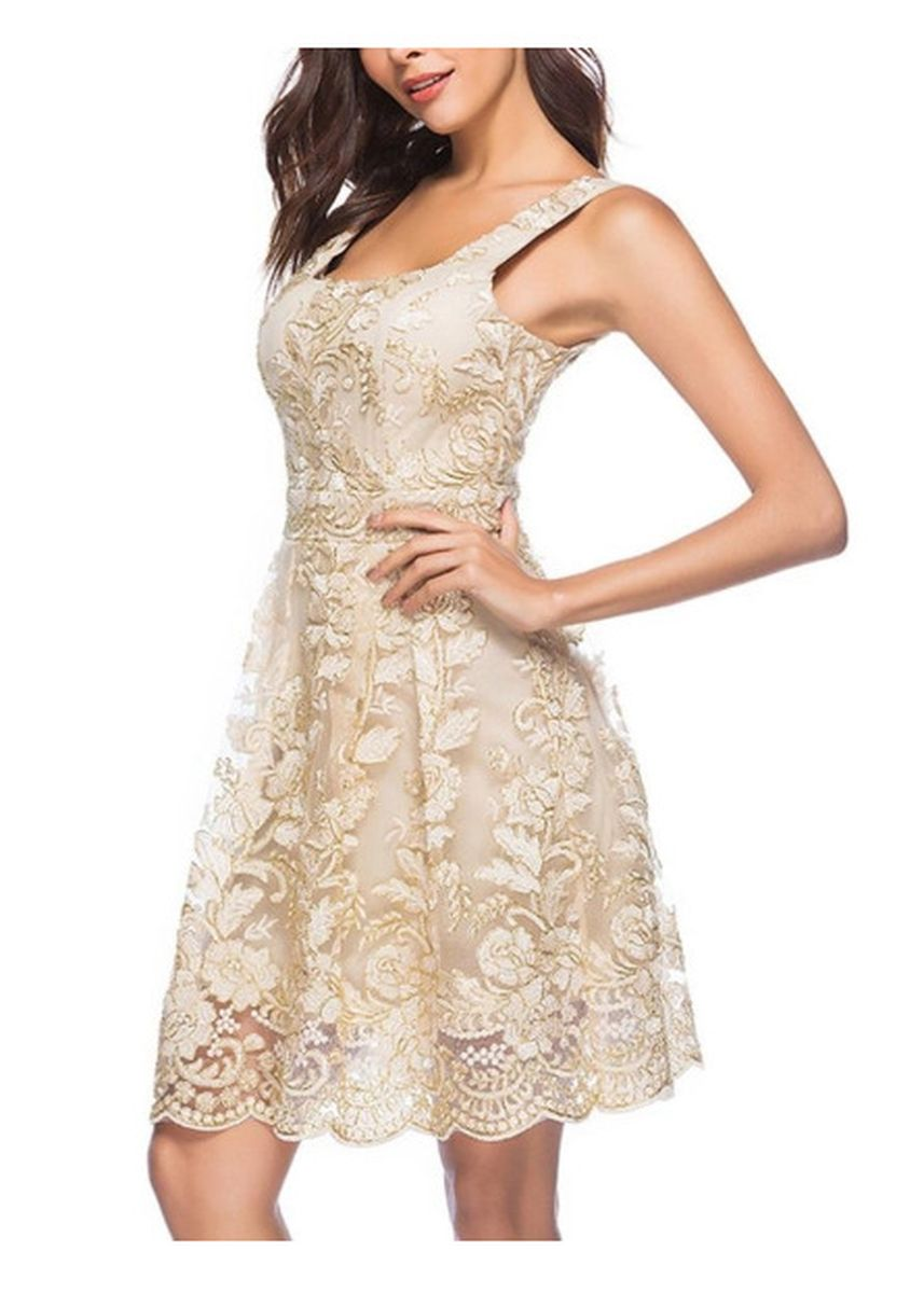 Beige color Dresses . Floral Embroidery Spaghetti Strap Summer Casual  Dress  -