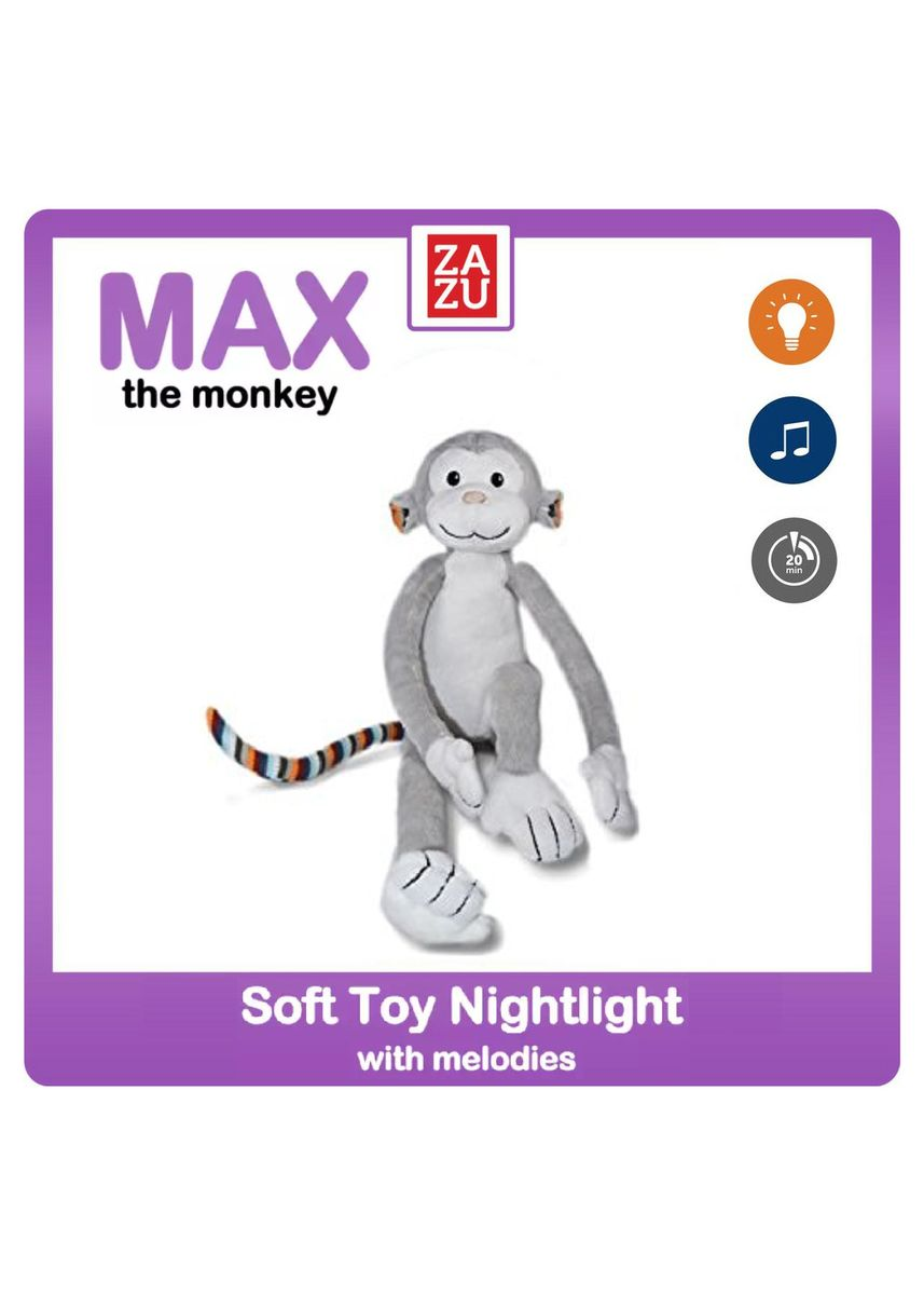 Light Grey color Toys . ZAZU - Soft toy Nightlight with Melodies (Max the Monkey / Bo the Bunny / Katie the Kitten) -
