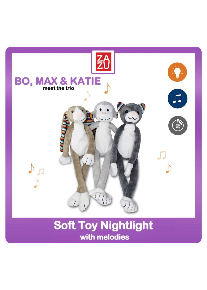 Brown color Toys . ZAZU - Soft toy Nightlight with Melodies (Max the Monkey / Bo the Bunny / Katie the Kitten) -