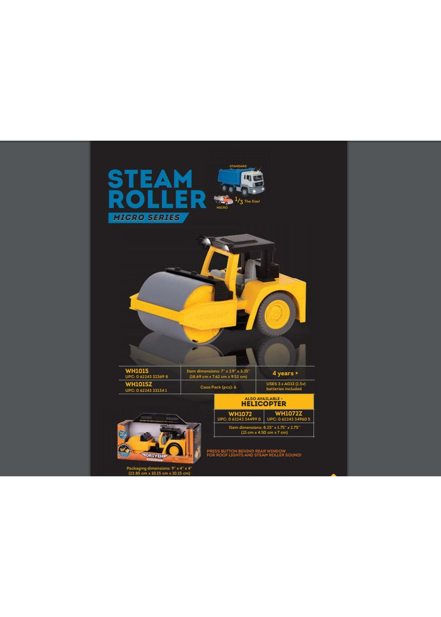 Yellow color Toys . Driven - Micro Series Steam Roller -