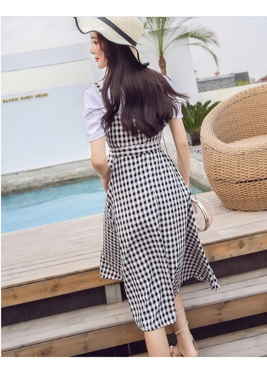 ดำ color เดรส . Summer Hot Sale Plaid Tie-Wrap Dress -