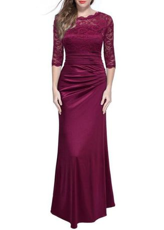 Red color Dresses . Women Long Lace Splice Elegent Wedding Party Formal Dresses -