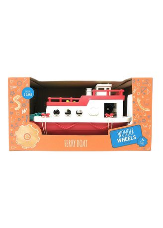 Red color Toys . Wonder Wheels Ferry Boat with 2 Cars -