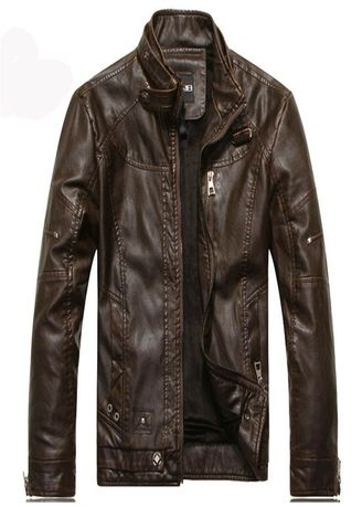 Brown color Jackets . Quality Autumn Fashion Leather Jackets Men -