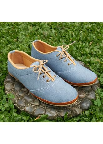 Light Blue color Casual Shoes . BaBa Sepatu Flat Wanita Slip On Jeans A5 -