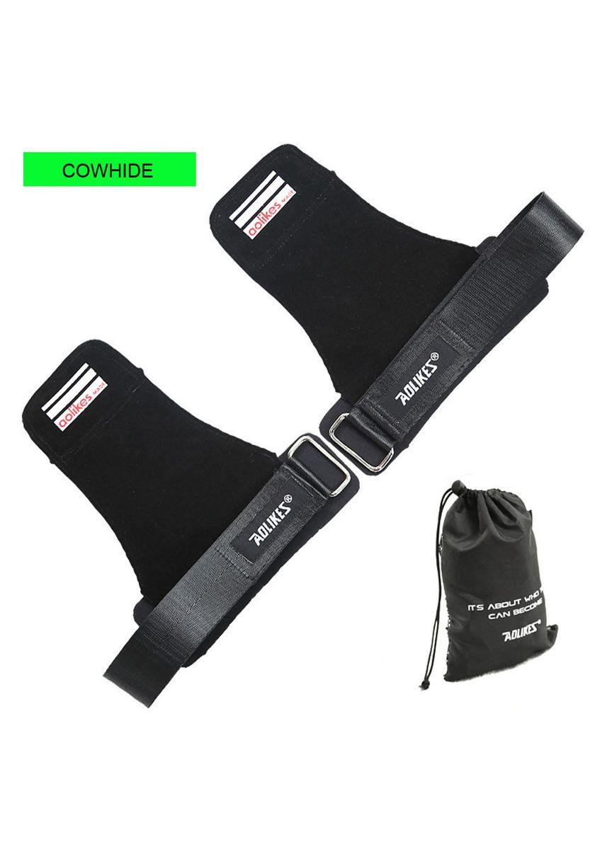 ดำ color อุปกรณ์ฟิตเนส . หนังแท้ (เป็นคู่)Aolikes Weight Lifting Leather Versa Grip with Adjustable Wrist Support Heavy Duty Straps Gloves -