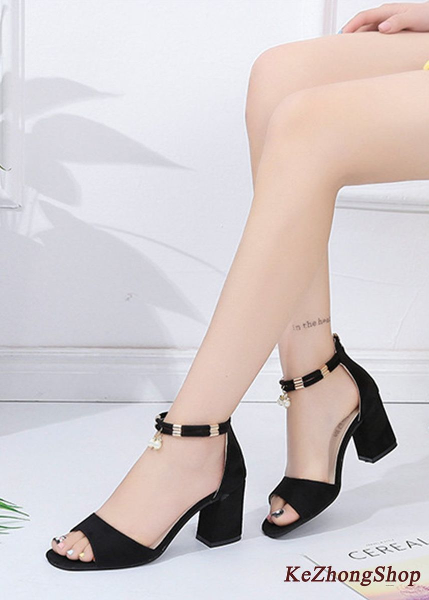 Black color Heels . Zipper Fish Mouth Pearl Pendant Suede Heels Sandals -