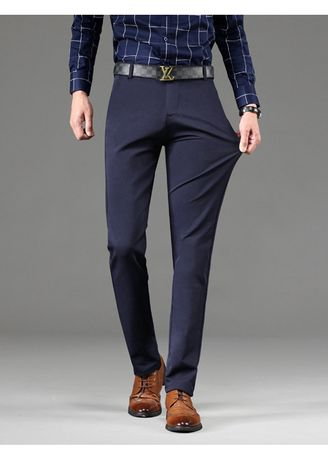 Formal Trousers . Men Solid Formal Trousers Slim Work Long Pants -
