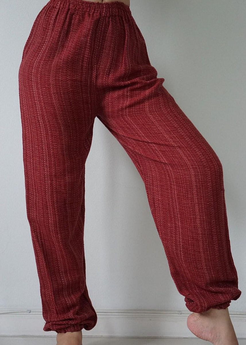 Red color Trousers . CH0795 Rope Hand woven Chiangmai pants and Elastic Waist pants - yoga pants harem pants hippie trousers -