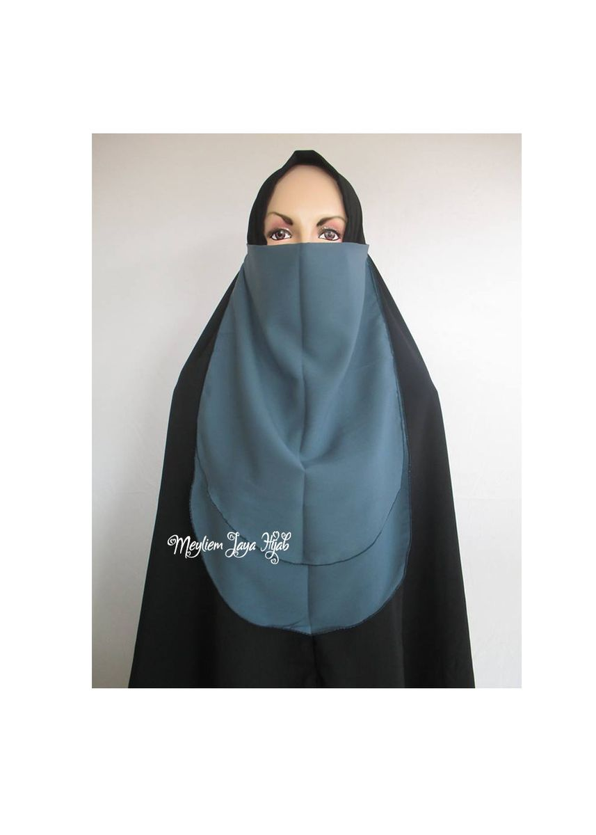 Biru Dongker color Hijab . Cadar Tali 2 Layer Oval - Navy -