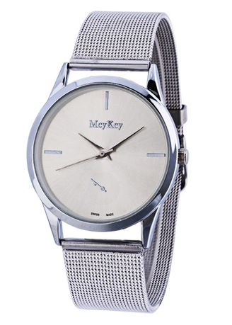 Silver color Analog . Stainleses Steel For Lady Couple Simple Wrist Quartz Watch -
