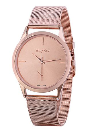 Pink color Analog . Stainleses Steel For Lady Couple Simple Wrist Quartz Watch -