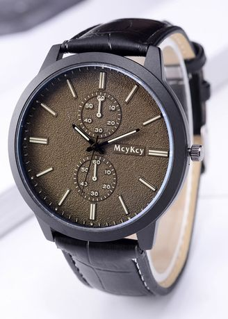 Black color Chronographs . Leather Strap Classic Fancy High Quality Attractive Men Watch -