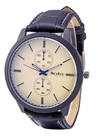White color Chronographs . Leather Strap Classic Fancy High Quality Attractive Men Watch -