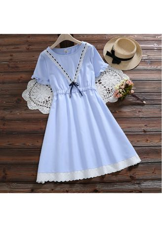 Light Blue color Dresses . Elegant Patchwork Short Sleeve Dresses -