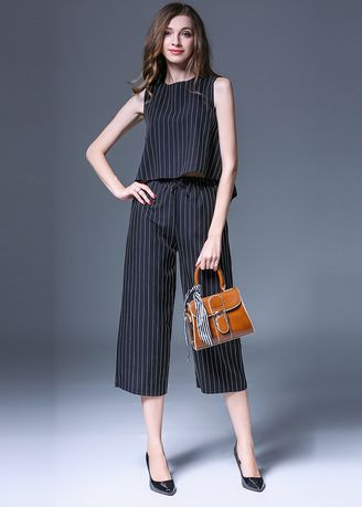 Jump Suits . Stripe Print Sleeveless Two Piece Set Wears -