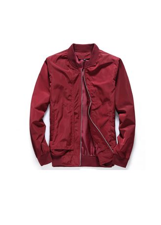 Red color Jackets . Men Bomber Jacket Solid Casual Jackets Basebell Coats -