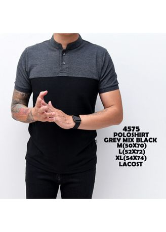 Abu-Abu color Kaus Oblong & Polo . Kaos Polo Shirt Pria | baju Cowok Polo Shanghai Black Mix Grey -
