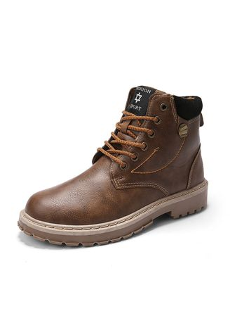 น้ำตาล color บู้ต . Men's Soft Toe Leather Work Boots -