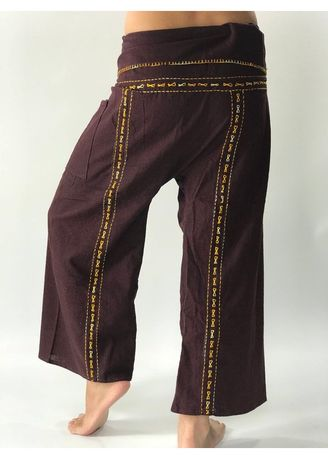 Casual Trousers and Chinos . F80049 Hand Stitch Thai Fisherman Pants Wide Leg pants, Wrap pants, Unisex pants -