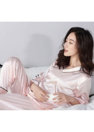 Pink color Pyjamas . Long Sleeve Sexy Summer Nighty Pure Silk Pyjamas -