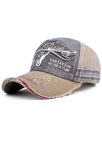 Khaki color Hats and Caps . Cow Washing Baseball Cap Cotton Embroidery Letters Hat -