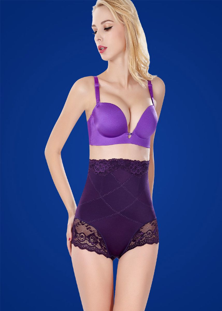 ม่วง color คอร์เซ็ท . Lace Tummy Control Hip-lifting Breathable Shapewear -