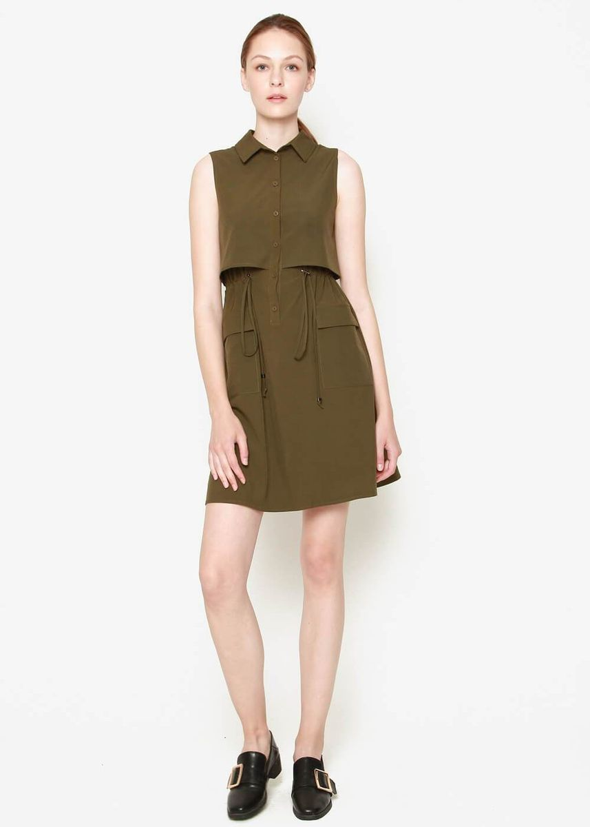 Olive color Dresses . Safari Short Dress -