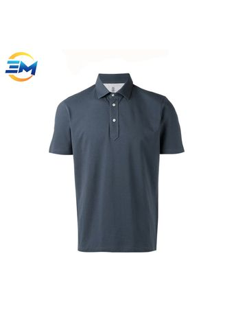 Navy color Casual Shirts . Classic Plain Custom Logo Pique Cotton Polo Shirt For Men -
