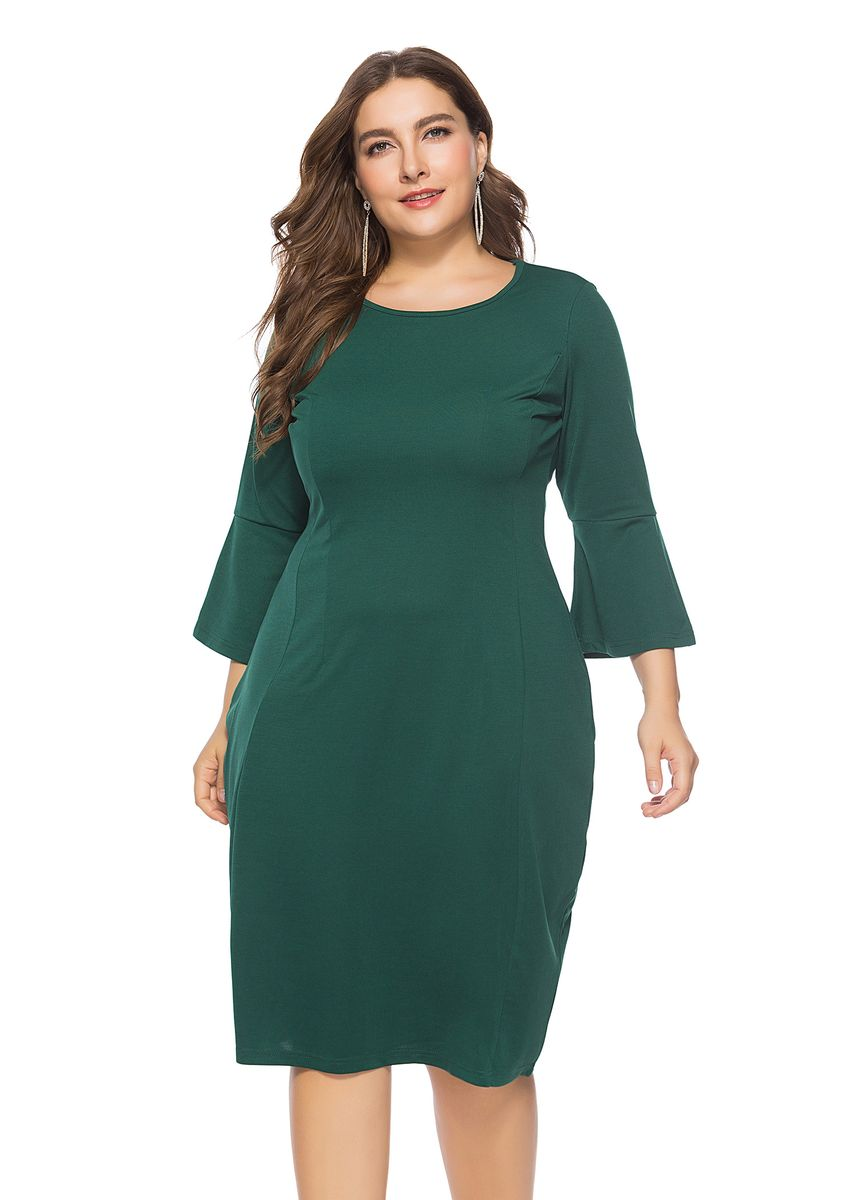 Green color Plus Size Fashion . Half Sleeves Solid Green Short Plus Size Dress Elegant Formal Wear Work Party Dress -
