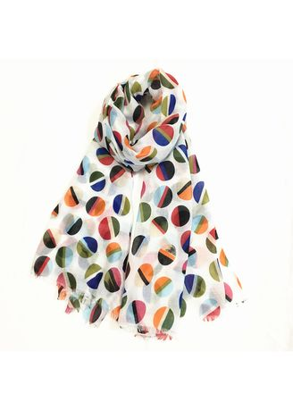Multi color Scarves . Multi-Colored Round Pattern Chiffon Scarf -
