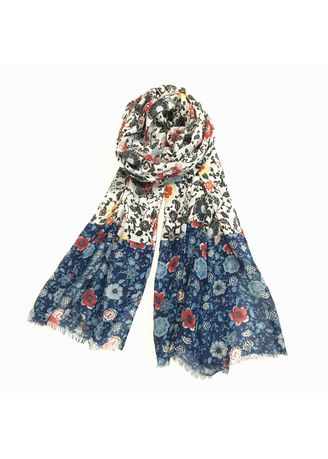 Multi color Scarves . Multi-Colored Floral Print Scarf -