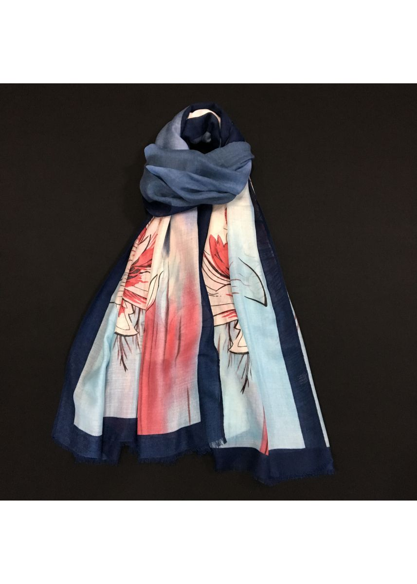 Multi color Scarves . Multi-Colored Blue Floral Print Scarf -