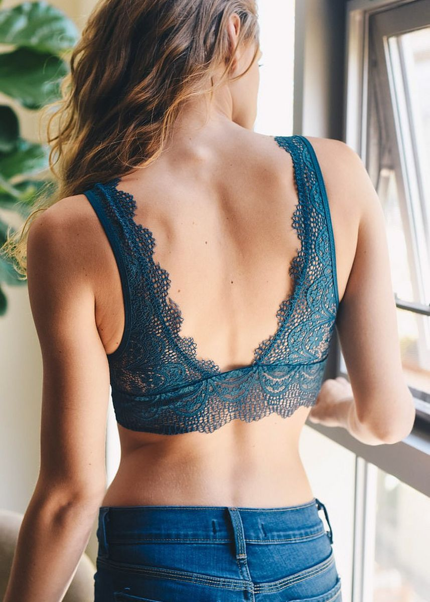 Blue color Bras . Women's Lace V Neck Bralette -