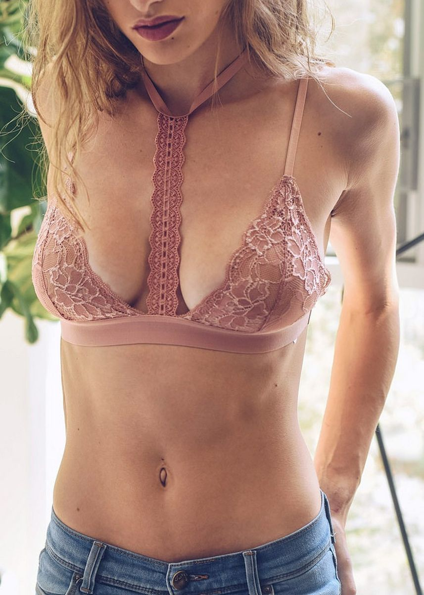 Pink color Bras . Women's Lace Bra With T Shape In Front -