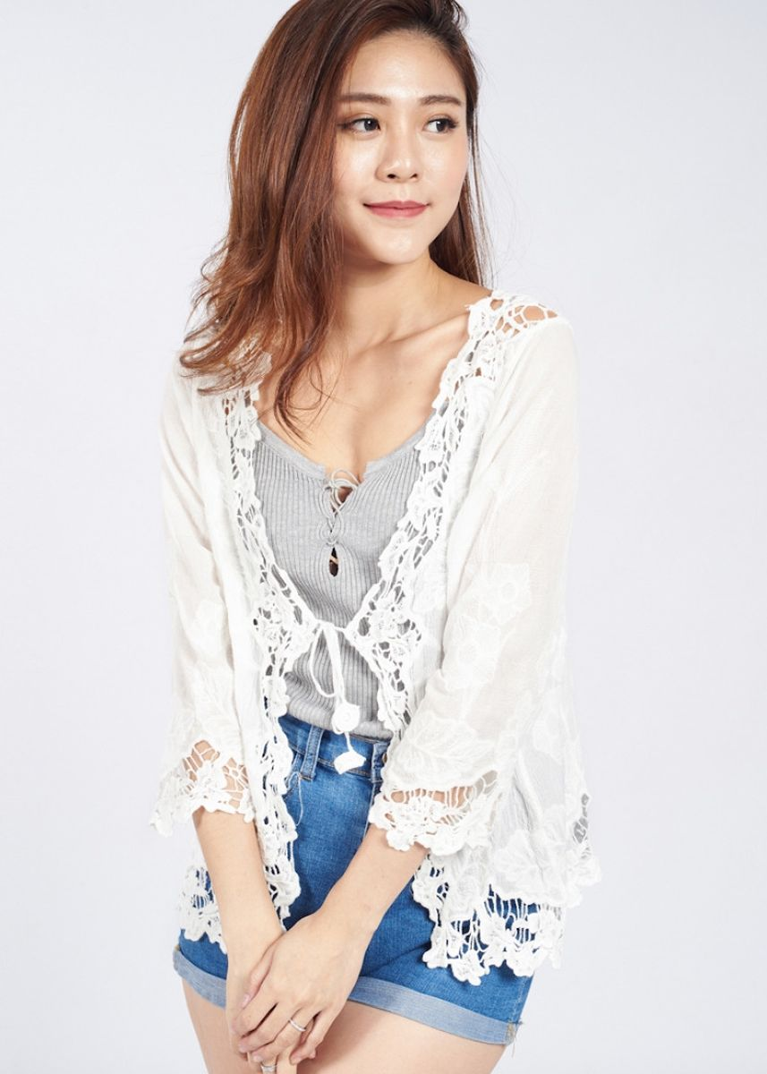 White color Shrugs . Ally Lace Cardigan -