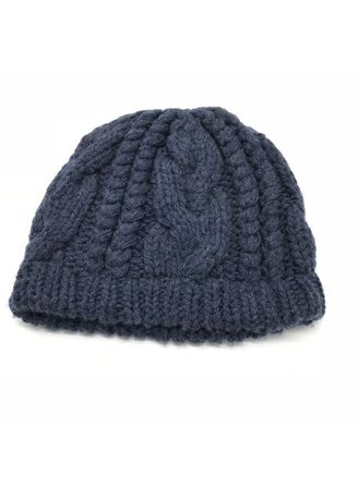 Grey color Hats . Grey Cable Braid Knitted Hat -