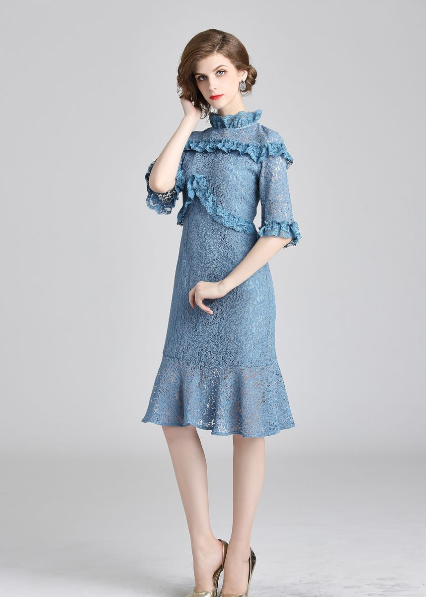 Blue color Dresses . Women's Casual O Neck Party Lace Mini Fishtail Dress -