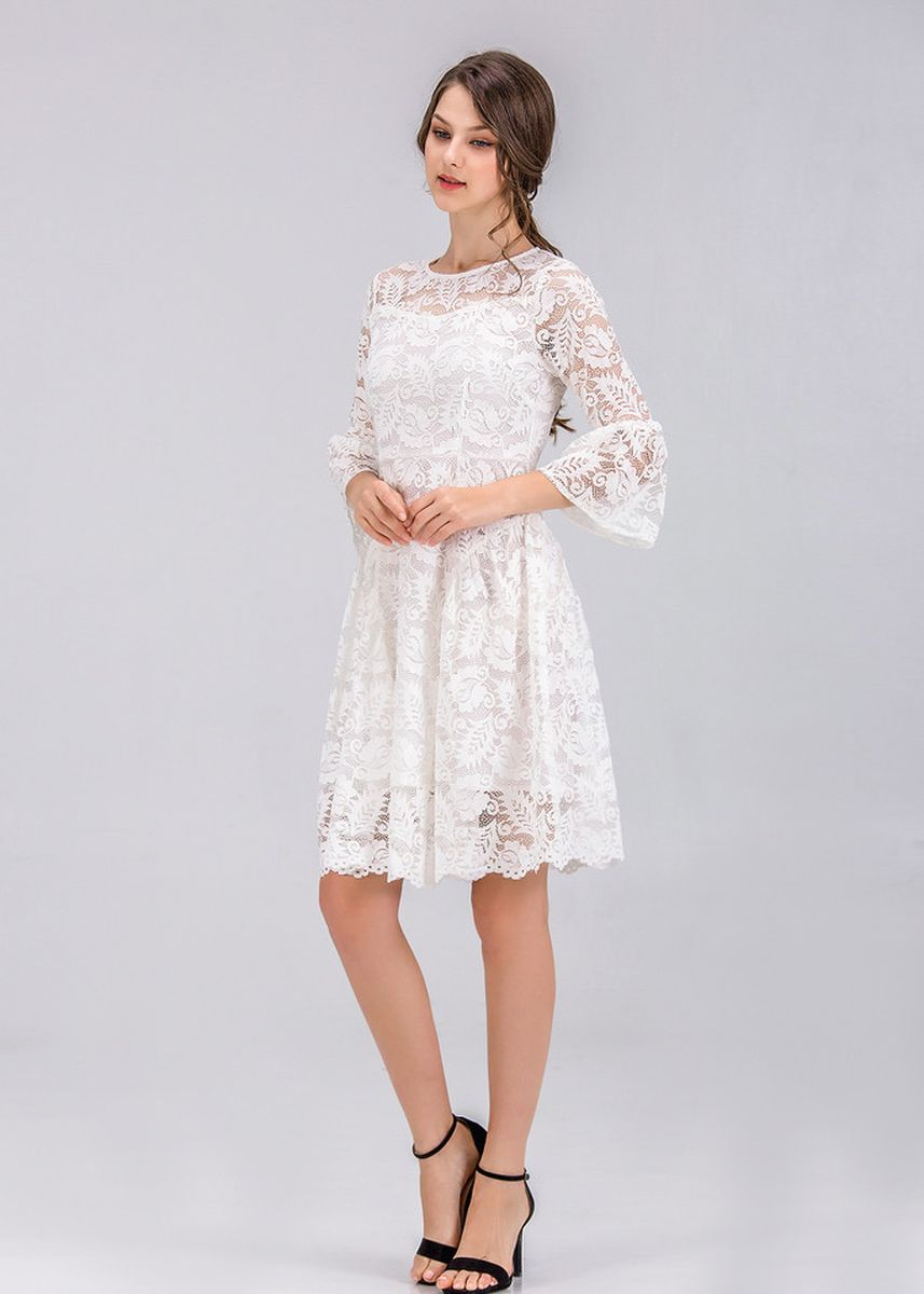 White color Dresses . White Sexy Beautiful White Lace Horn Sleeve Midi Dress -