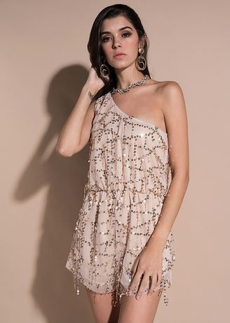 Beige color Jump Suits . Beige Sexy Sequined Strapless Jumpsuit -