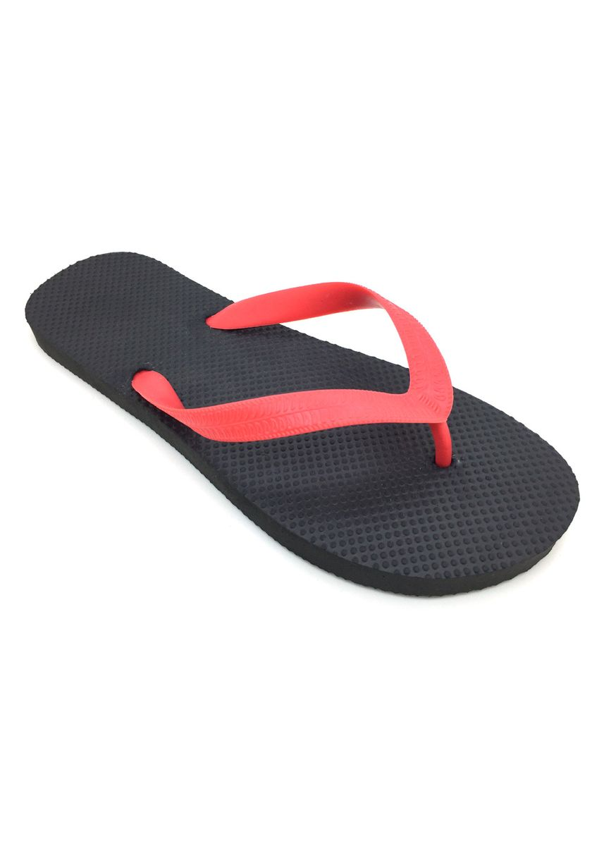 Black color Sandals and Slippers . Men's Black with Red Straps Rubber Slippers -