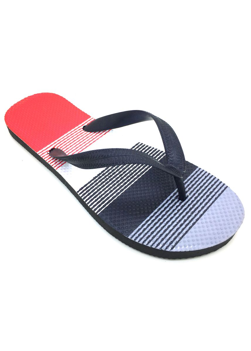 Multi color Sandals and Slippers . Men's Multi Red Stripes Rubber Slippers -