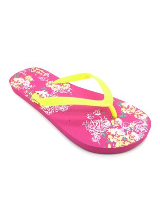 Pink color Sandals and Slippers . Women's Pink Floral Printed Rubber Slippers -