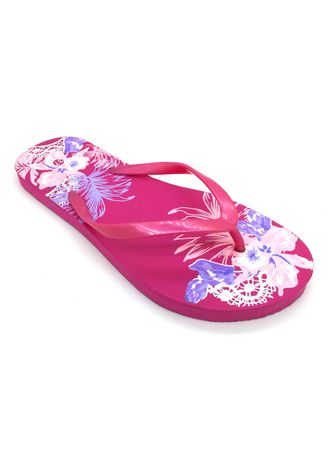 Pink color Sandals and Slippers . Women's Pink Floral Abstract Rubber Slippers -