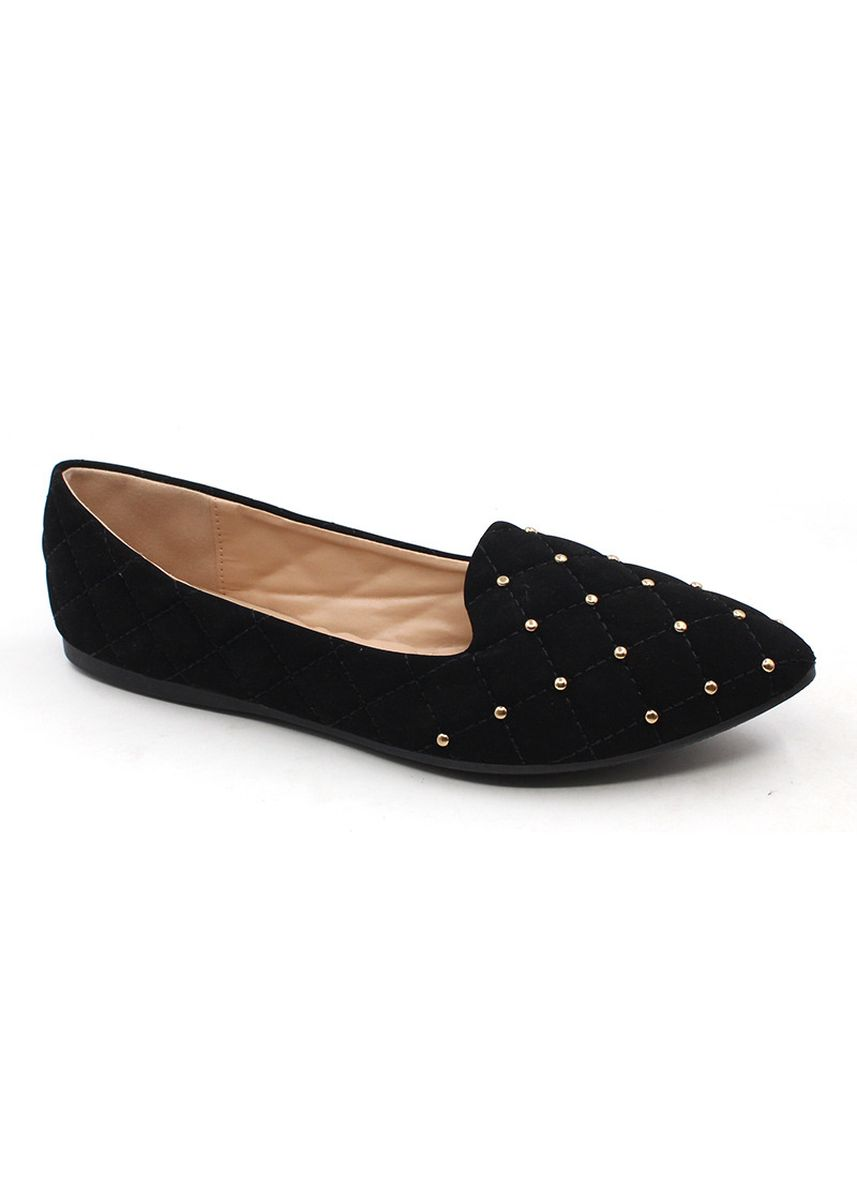 Black color Casual Shoes . Velvet Slip On Pointed Shoes With Gold Beads -
