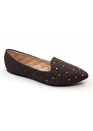 Brown color Casual Shoes . Velvet Slip On Pointed Shoes With Gold Beads -